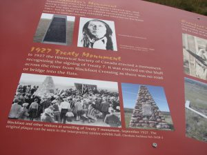image from face of Treaty 7 monument at Blackfoot Crossing, Alberta