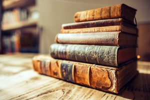 image of a pile of antique books