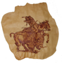 photo of buffalo hunter hand-carved into leather skin, gifted to late aurthor Norma Sluman