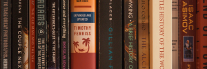 close up photo of a row of hard cover books